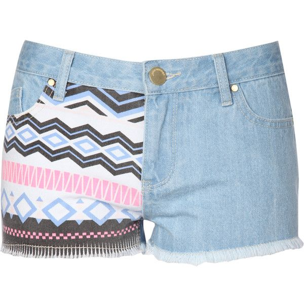 Jane Norman Aztec Print Shorts (31 BRL) ❤ liked on Polyvore featuring shorts, bottoms, pants, calções, aztec denim shorts, zipper shorts, aztec shorts, jane norman and short jean shorts