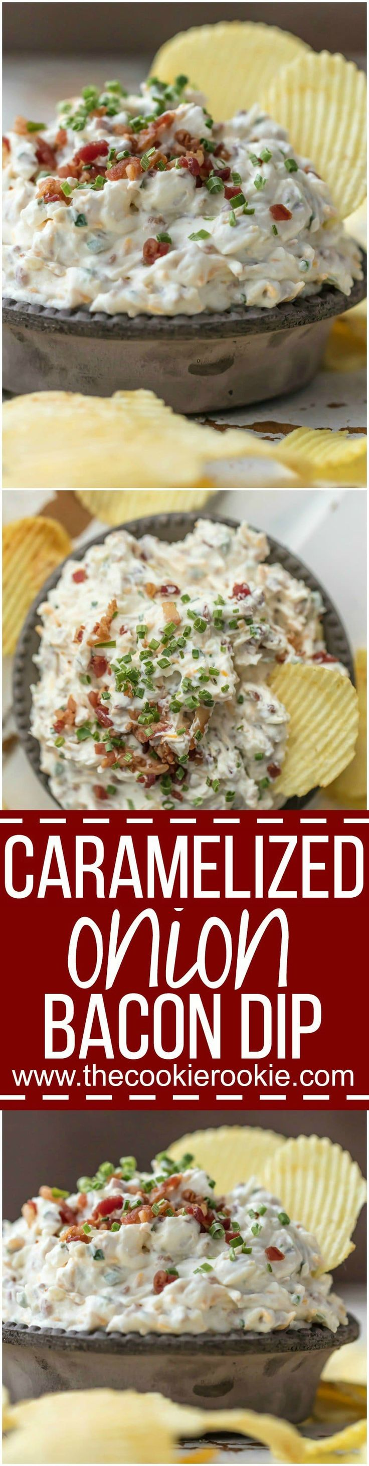This CARAMELIZED ONION BACON DIP is the ultimate super easy appetizer to make for game day! This sour cream dip is made in minutes and loved by all...so much flavor! via @beckygallhardin