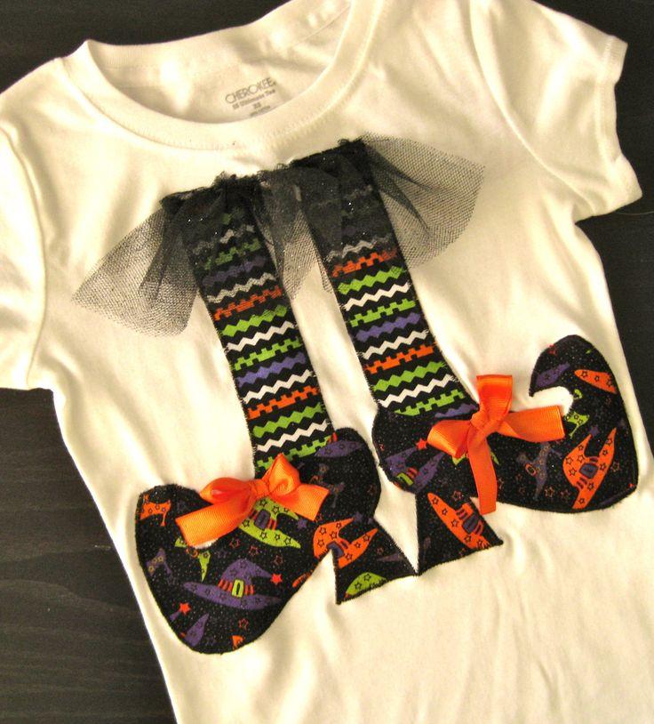 Halloween Shirt Witch Feet Girls Applique Shirt. $23.00, via Etsy.