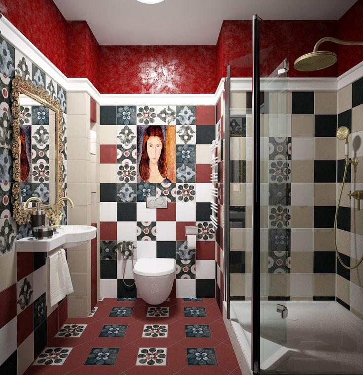 Дизайн интерьера туалета: 85 больших идей для маленького помещения (фото) http://happymodern.ru/interer-tualeta-75-foto-idej/ Интересный интерьер уборной с душевой в стиле фьюжн