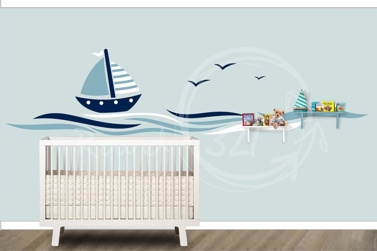 Nautical Theme Sailboat Vinyl Wall Decal  by TheNauticalShop, $75.00