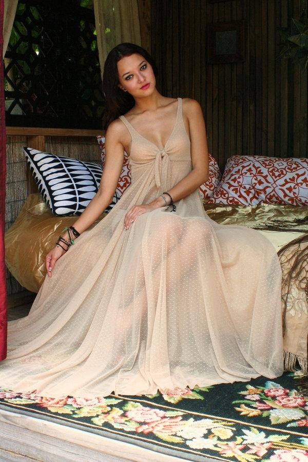 Bridal Nightgown Sheer Mesh Lace Tie Front Waterfall Wedding Sleepwear