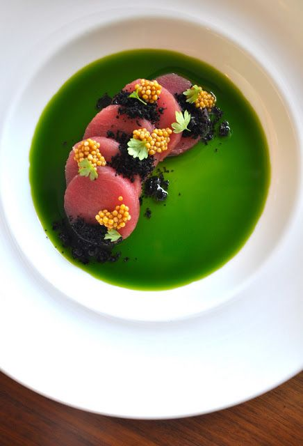 Im pairing the ahi tuna with basil oil, olive soil, bloomed mustard seeds, and micro celery