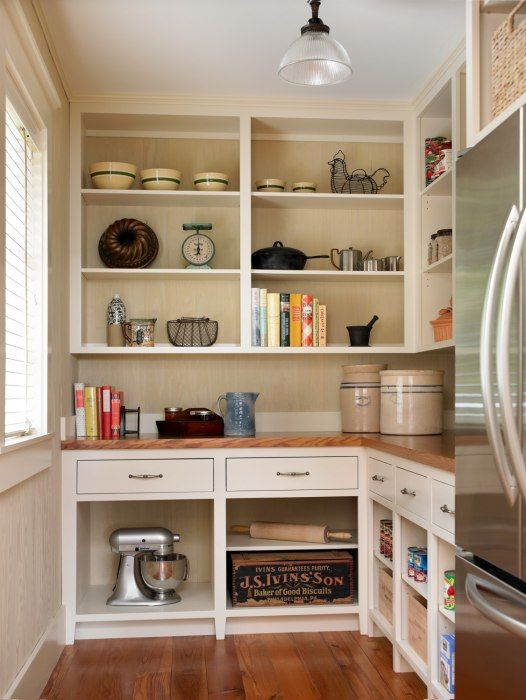 Pantry - wood work counter, single drawer and shelves below, open shelves above, light.  Also love the crocks and bowls. -  Historical Concepts - Pantry