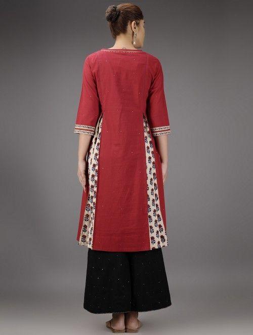 Red Pleated Cotton Kurta with Mukaish