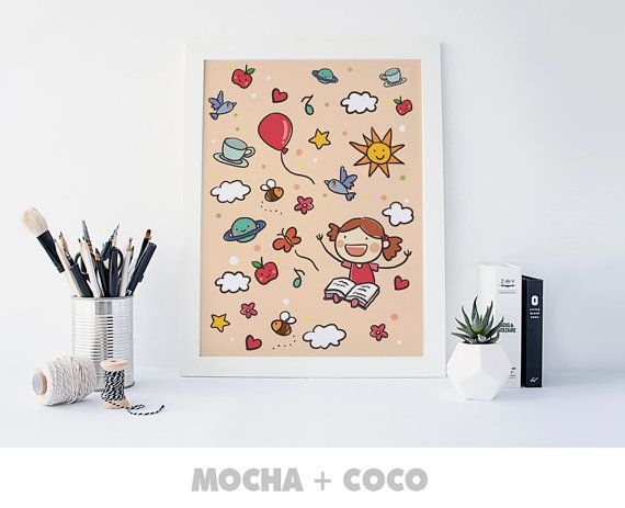 Little Princess Reads Poster | Kids Wall Art, Cute Children's Wall Decor, Nursery Room, Printable Mocha + Coco, instant PRINT FILE DOWNLOAD