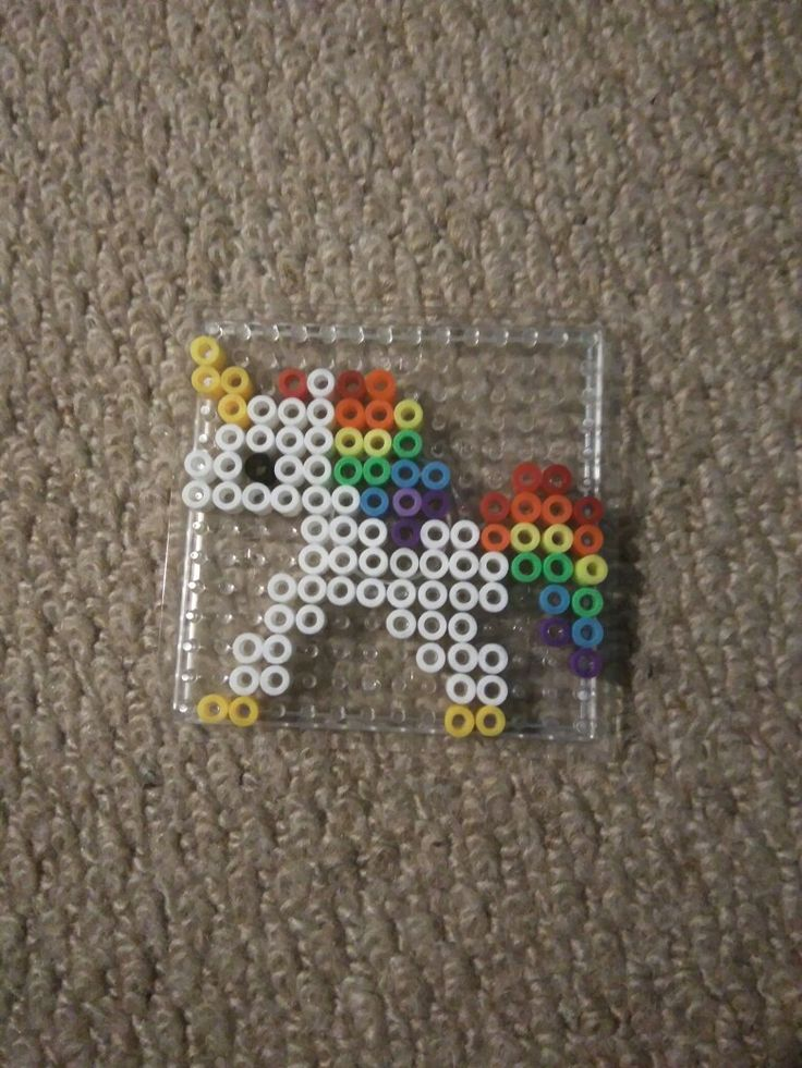 i couldnt find a good pattern online so i designed my own perler beads unicorn pattern