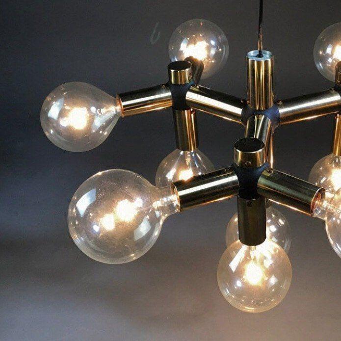 Atomic Age Molecule Golden Chandelier By Trix Robert Haussmann