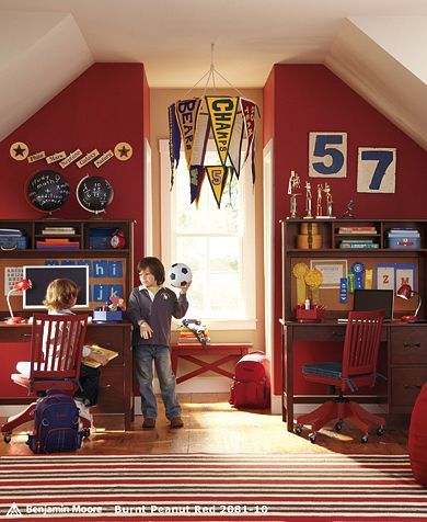Love this vintage sports room. PB Kids showed me how to make those pennant banners at a decorating class at their store.