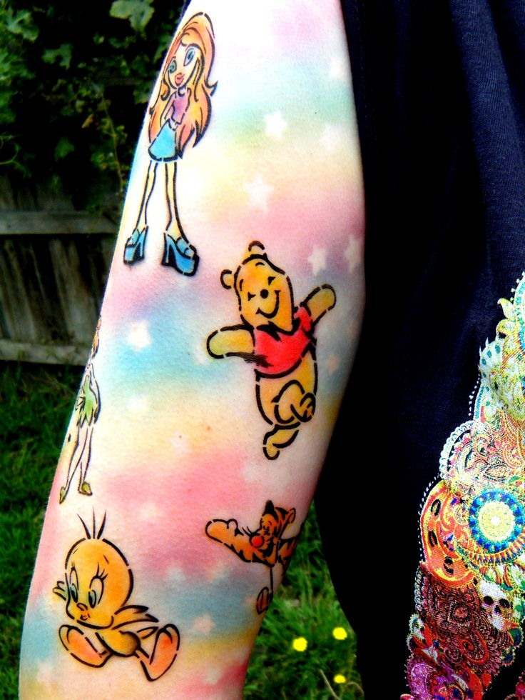 Cute as! Cartoon inspired Airbrush tattoo sleeve. With Rainbow and stars for the background.  Bratz, Tinkerbell, Tweetie Bird, Sylvester, Pooh & Tigger.