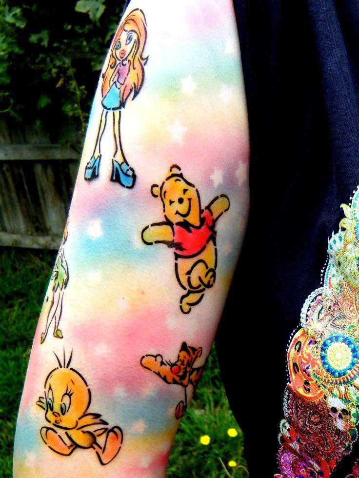 Cute as cartoon inspired airbrush tattoo sleeve with for Cartoon baby tattoos