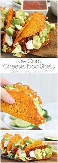 Have a low carb taco night with these cheese taco shells made from baked cheddar cheese formed into the shape of a taco!