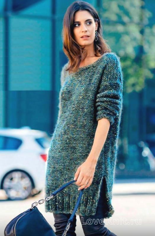 Теплое платье с открытой спиной схема спицами » Люблю Вязать