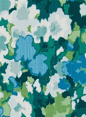 Madcap Cottage Rousham Romp Green -  Transitional watercolor floral fabric print from Madcap Cottage collection. Great for chair fabric, upholstery fabric or drapery curtain fabric.