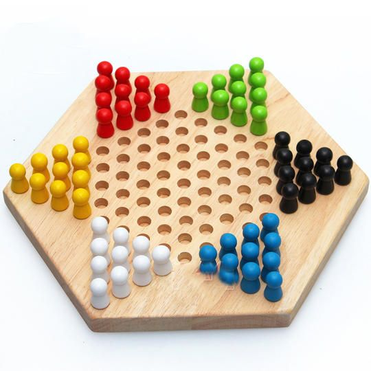 Wooden Hexagonal Checkers Pre-Educational Intelligence Toy