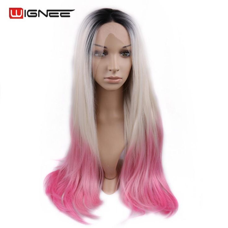 Wignee Lace Front 3 Tone Ombre Blonde Pink Synthetic Hair Wigs For Black/White Women High Heat Glueless Perruque Cosplay Wig