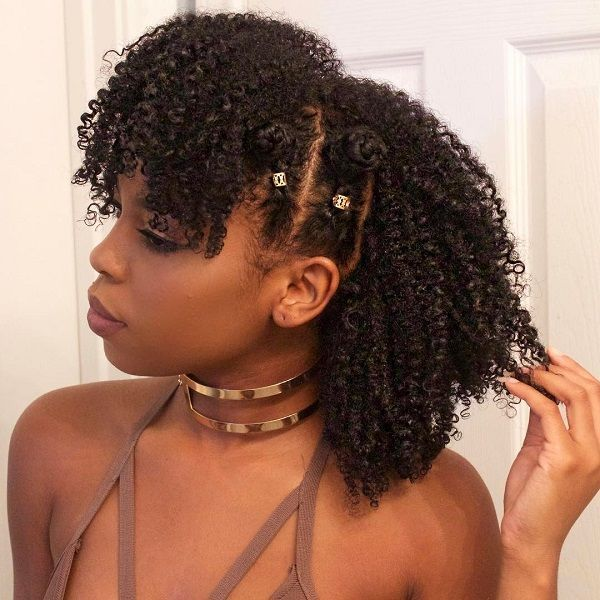 braided bantu knots fro hawk coily curly back to school hairstyle