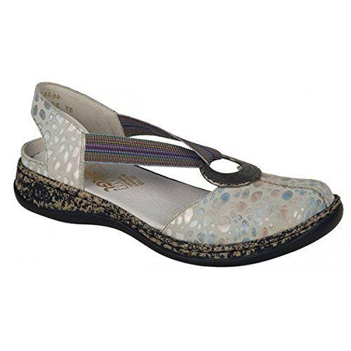 RIEKER Womens Leather White Shoe Sandal 4636280 *** Read more at the image  link.