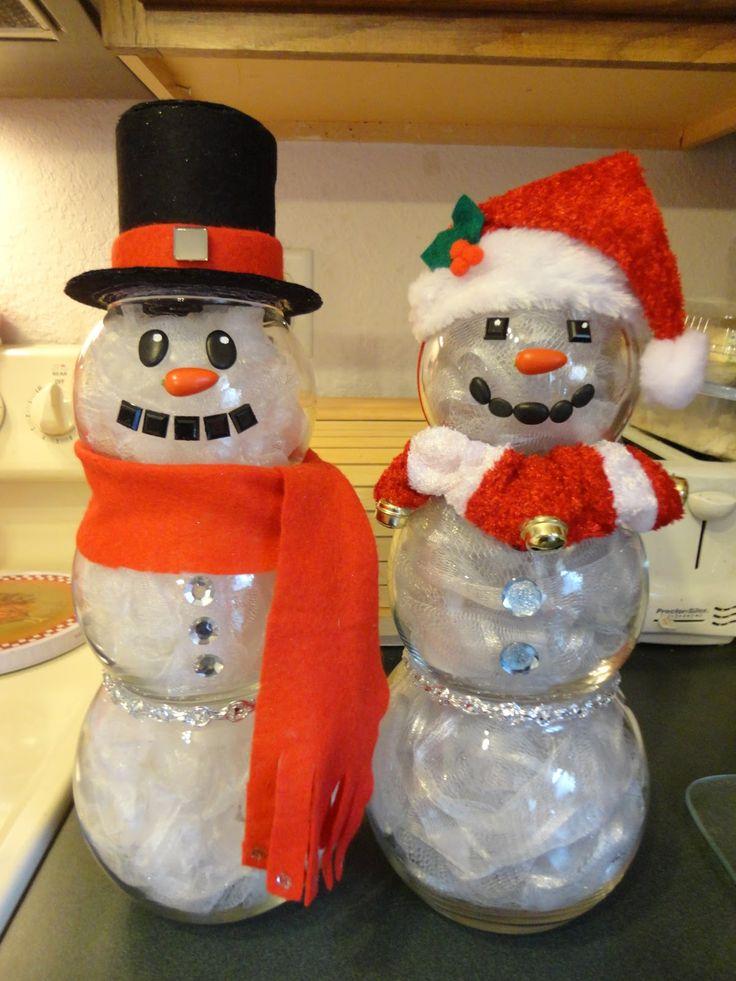 Fish Bowl Snowmen that light up :)  -------------------  Starr's Crafts 'n' Crap