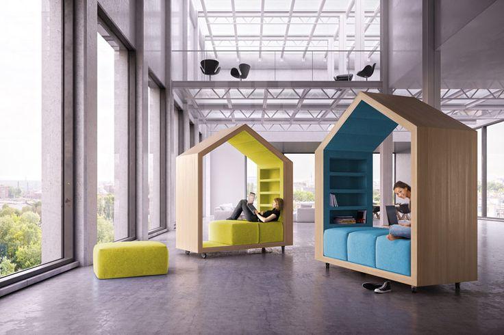 """Malcew office tree house designboom01 - """"Que tal relaxar durante o trabalho em uma casa na árvore? A estrutura lúdica inspirou o designer Dymitr Malcew na criação da """"Tree House"""". O mobiliário tem formato de """"casinha"""" e possui almofadas que permitem, literalmente, esticar as pernas e recuperar as energias."""" Achei no Casa Brasil"""