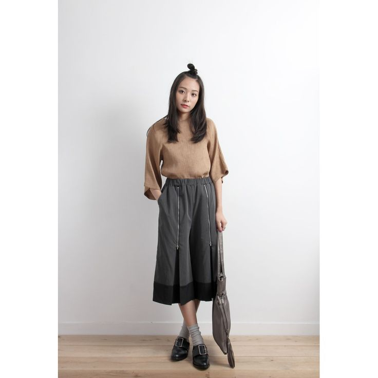 Pinstripe Culottes With Colorblock Hem