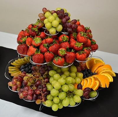 Fruit display using a cupcake stand