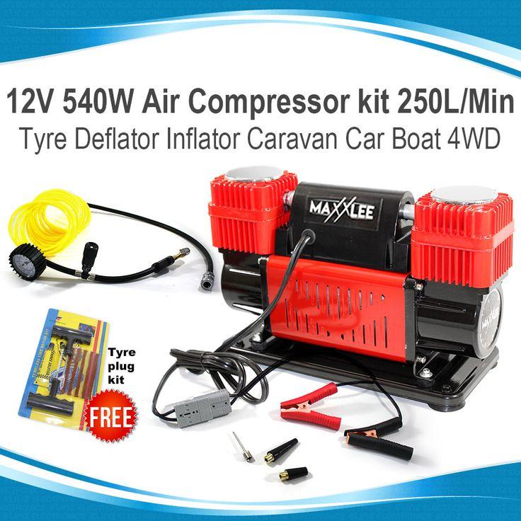 12V 540W Air Compressor kit 250L/Min Tyre Deflator Inflator Anderson Plug Car 4x4 Caravan Boat