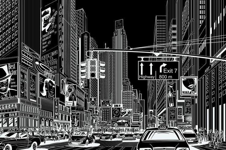 Cartoon City, black | R10622 | Rebel Walls EN-US