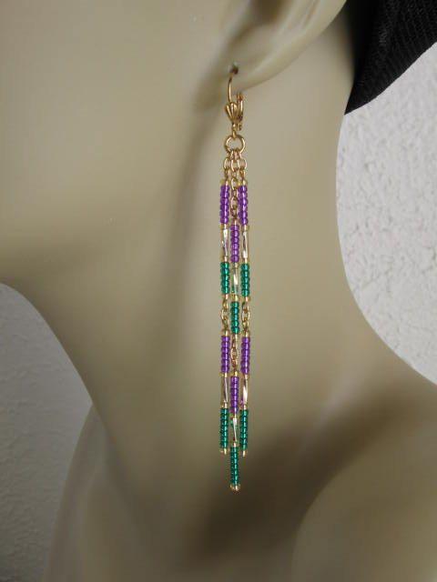 Seed Bead Chain Earrings  Mardi Gras by pattimacs on Etsy, $14.00
