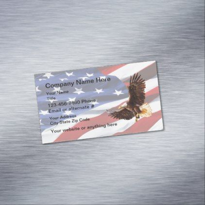 Patriotic American Eagle Magnetic Business Card - construction business diy customize personalize