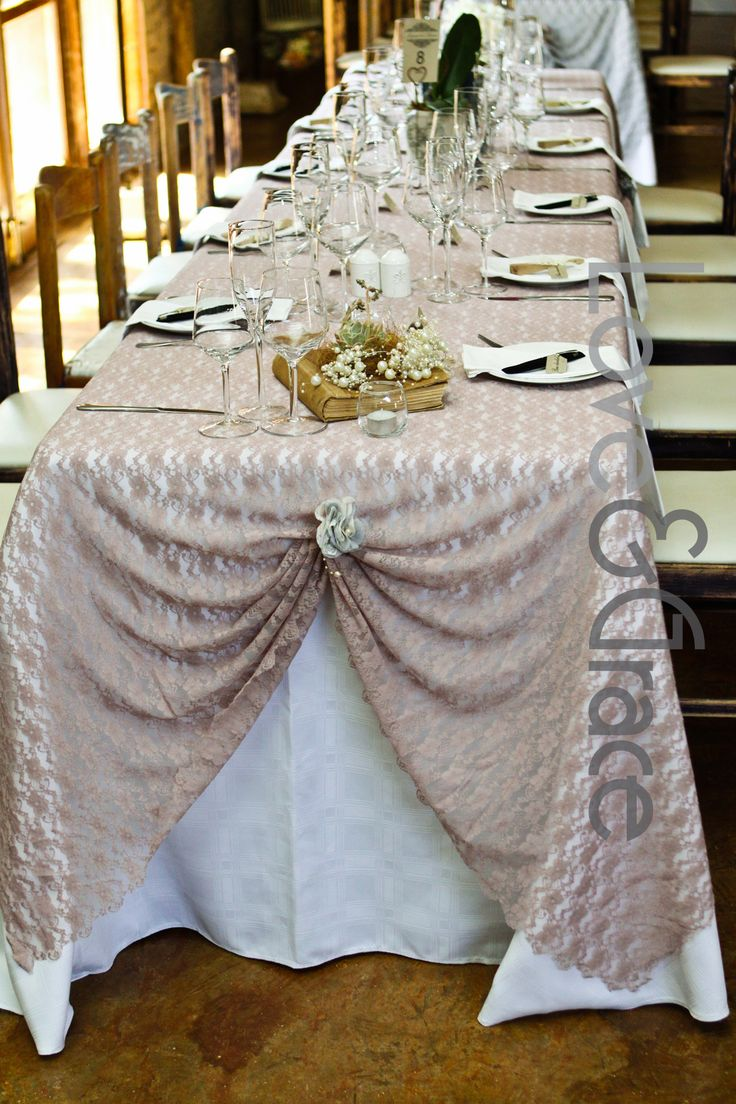 Vintage pink rectangular table layout