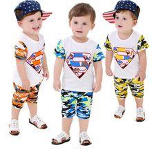 Verão bebê roupas de camuflagem cor duas peças menino de terno e calças meia BB0005(China (Mainland))