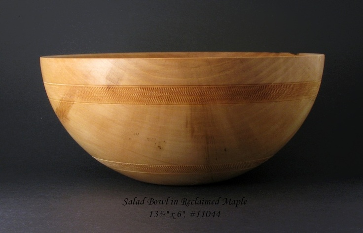 """""""This is one of the wooden salad bowls I recently finished making.  It measures 13½"""" x 6"""" and is made from solid maple,"""" says my friend @Steve Kubien [ gorgeous ]"""
