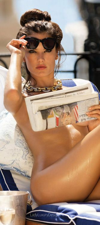 Sunday Papers While Cruising On The Riviera On Blue And White Nautical Cushions.... What Else? ~ Alessandra Ambrosio - LadyLuxury7