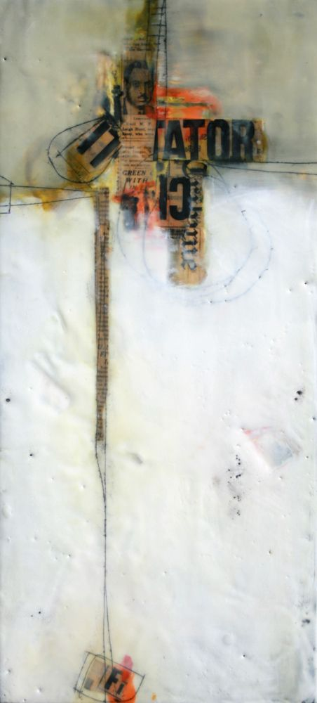 "Brad Hook, ""Cecil"", Encaustic Collage, from the ""Old News Series"""
