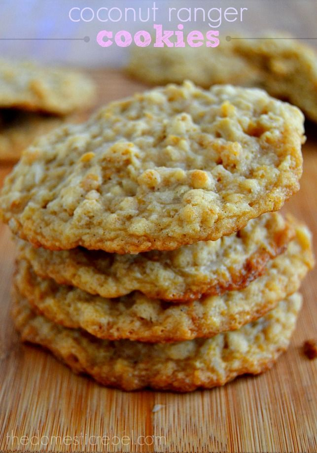 Chewy, crisp Coconut Ranger Cookies have a deep, rich toffee flavor and are bursting with crunchy cornflakes and nutty coconut!
