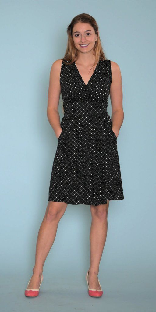 This black and white polka dot dress is a classic, with a twist! This sleeveless dress has pockets for the gal on the go. The fan-favorite Penelope has a surplice v-neck for extra coverage up top, whi