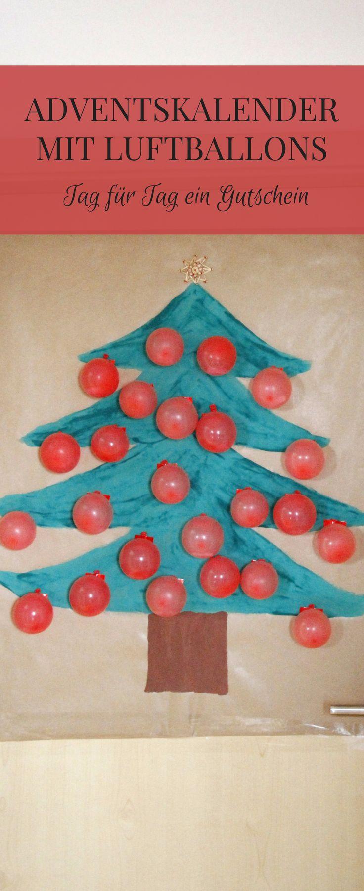 Adventskalender basteln: Schnell gemacht ist dieser Gutschein Adventskalender mit Luftballons. Zum Adventskalender selber machen benötigt man lediglich Abtönfarbe, Packpapier und Wasserbomben. Natürlich kann man zum Adventskalendertürchen befüllen auch Süßigkeiten oder kleine Geschenke verwenden. Die Adventskalender Idee eignet sich nicht nur für Kinder, auch bei Erwachsenen kommt ein selbstgebastelter Adventskalender gut an.
