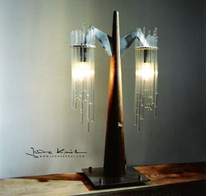 Table lamp with glass icicles and waxed oak. Designed by artist Janusz Król.