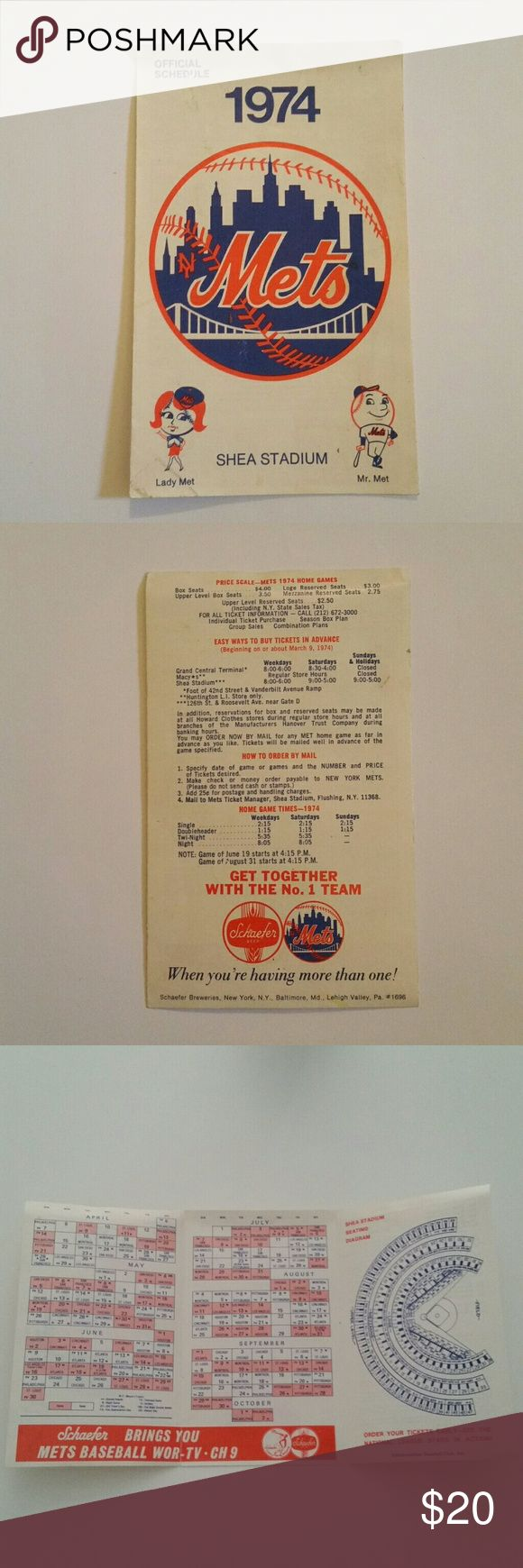 1974 NY Mets Shea Stadium Schedule 1974 NY Mets Shea Stadium Schedule vintage sports memorabilia. Authentic. As seen in photos. Perfect fathers day gift for the right new York baseball fan. mets Other