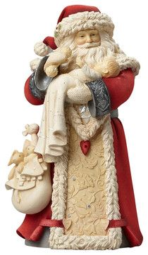 Enesco Heart Of Christmas Santa With Baby Figurine traditional-holiday-accents-and-figurines