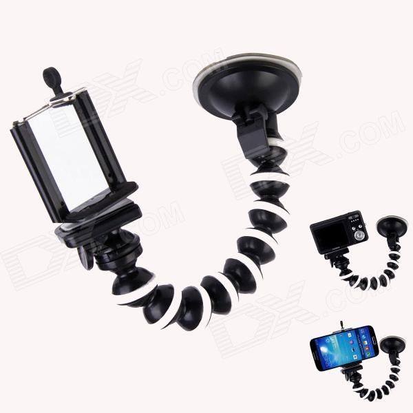 """Suction cup designed stand, with universal 1/4"""" interface and Cell Phone Clip; Suitable for digital camera / GPS / microphone / cell phone http://j.mp/1toK9ZV"""