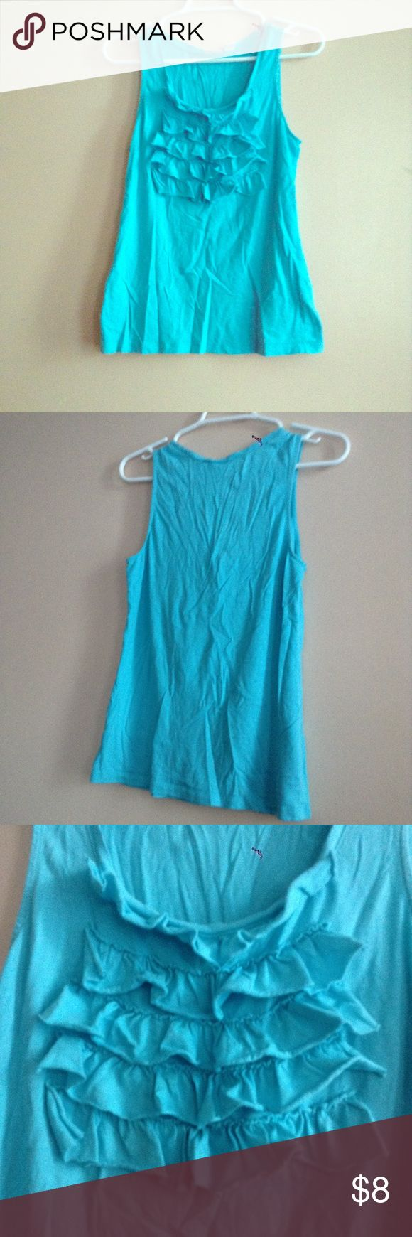 Cato Ruffled Blue Tank Top This is a cute little tank! Barely been worn. Super comfy! Looks cute with a pair of jeans and a jean jacket. Cato Tops Tank Tops