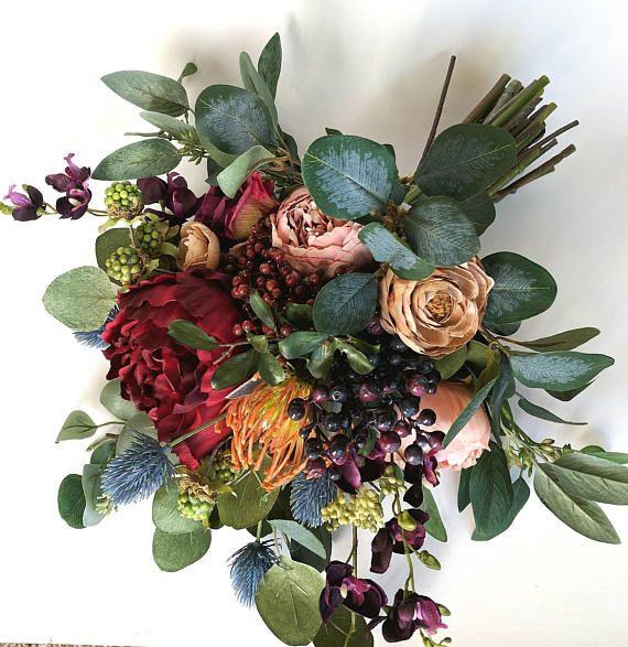 Wildflower Berry Boho Bouquet. Silk Flowers. Bohemian Bouquet.