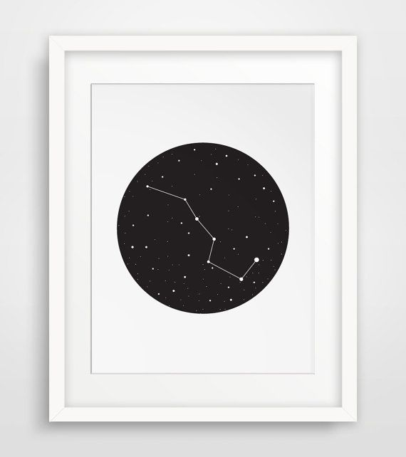 Constellation, Big Dipper, Constellation Art, Ursa Major, Wall Prints, Black and White Stars, The Big Dipper Print, Big Dipper Print #teendecor
