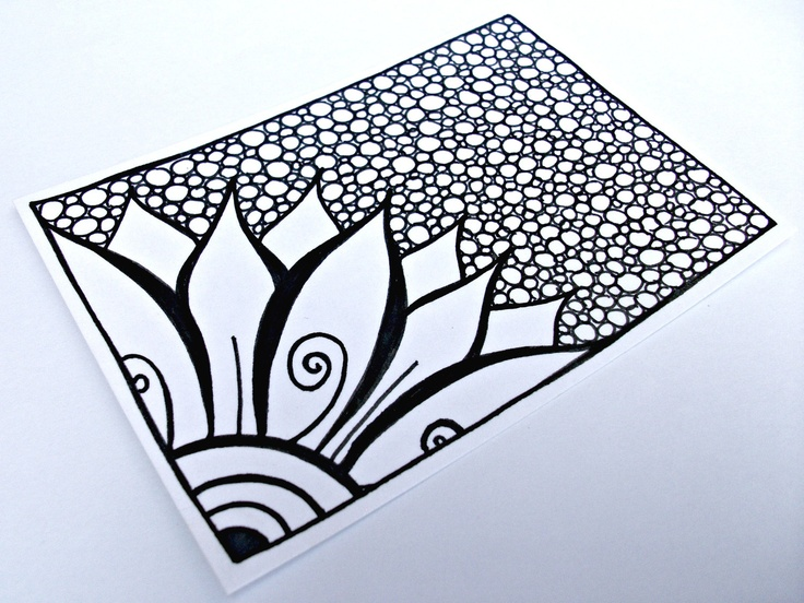 ACEO Flower Original Drawing, Zentangle Inspired Art, Black and White Zendoodle. $20.00, via Etsy.
