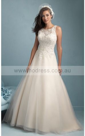 Buttons Floor-length Natural Princess Tulle Wedding Dresses amcf1001