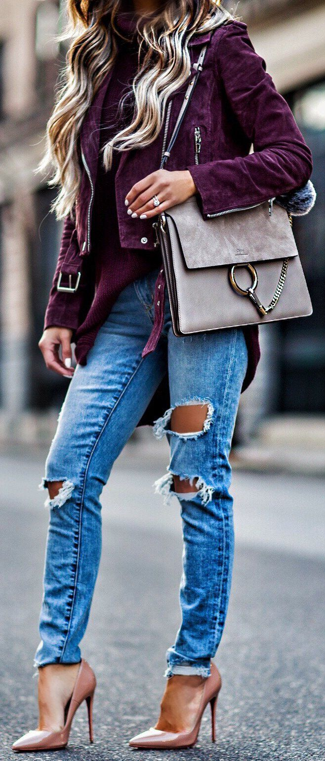 Purple Jacket / Grey Suede Shoulder Bag / Destroyed Denim / Nude Pumps