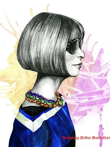 Ritratto di Anna Wintour, illustrazione di moda, ritratto di celebrità, arte della parete, ritratto ad acquerello