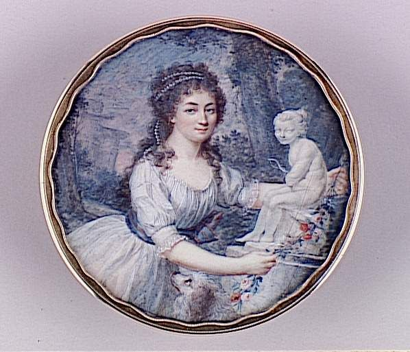 Réunion des Musées Nationaux-Grand Palais - Jeune femme disposant une guirlande autour d'une statue de l'Amour, Dubourg Augustin (1758-1800). Vers 1790.